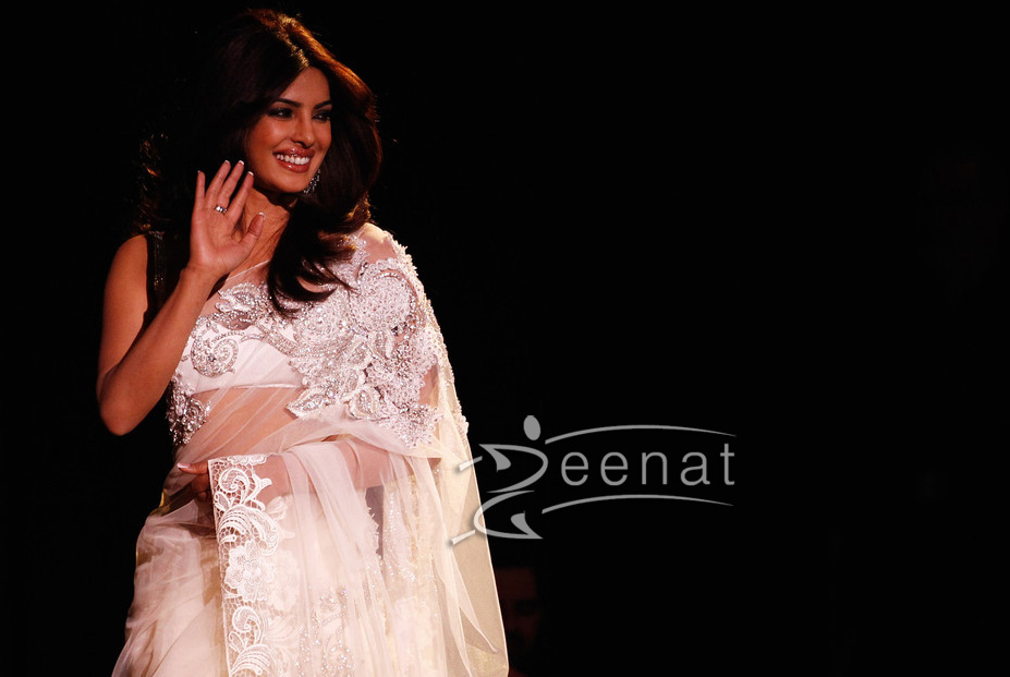 Priyanka Chopra In White Indian Net Saree