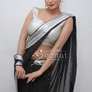 Veena Malik In Black Bollywood Saree