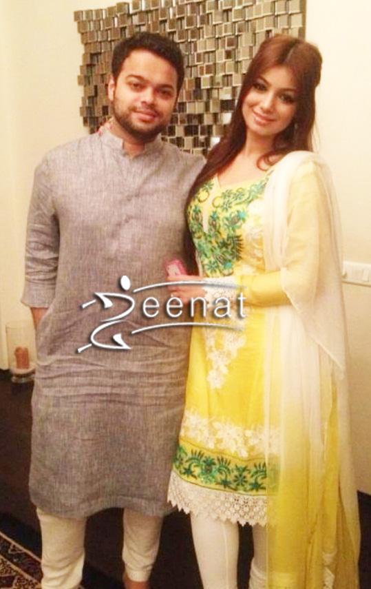 Aysha Takia In Traditional Salwar Kameez  with husband Farhan.
