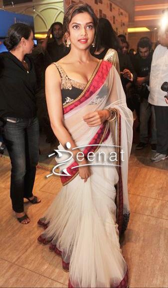Deepika Padukone In Designer Sabyasachi White Net Saree