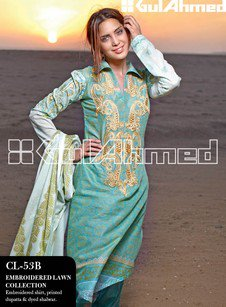 Gul Ahmed Embroidered Lawn Collection.