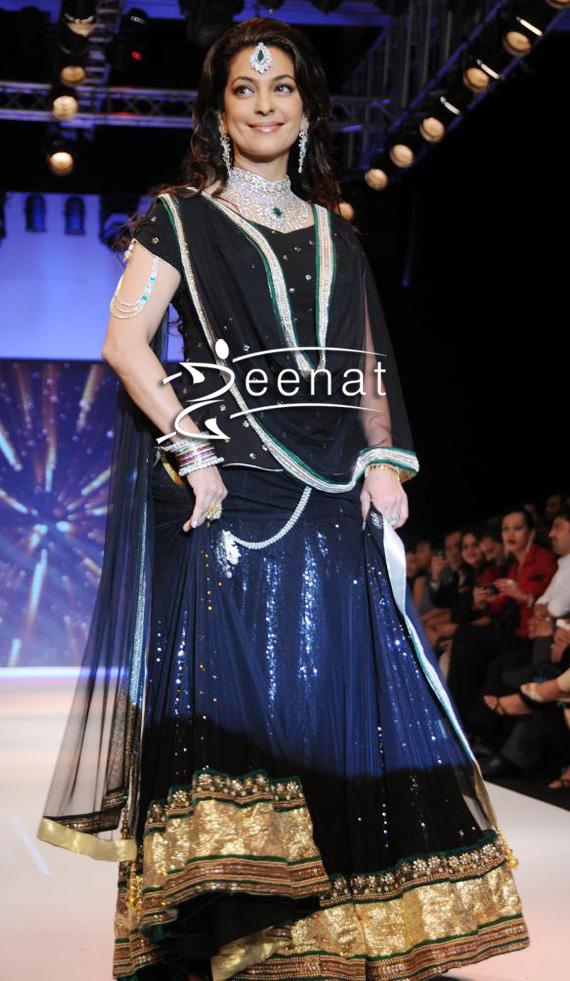 Juhi Chawla Gorgeous Black Lehenga By Jashn