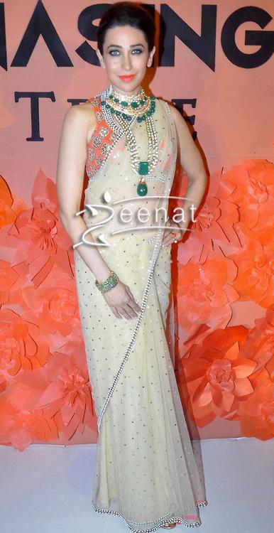 Karisma Kapoor in fawn Net Saree
