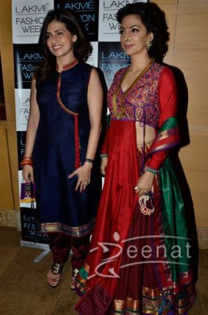 Designer lehenga with long shirt on Juhi Chawla