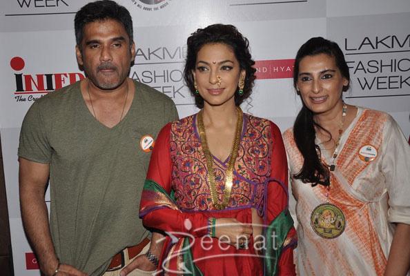 Juhi Chawla in designers lehenga with long shirt