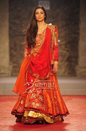 Bollywood Actress Tabu in lehenga choli at Delhi Couture Week held in New Delhi on July 31 2013.
