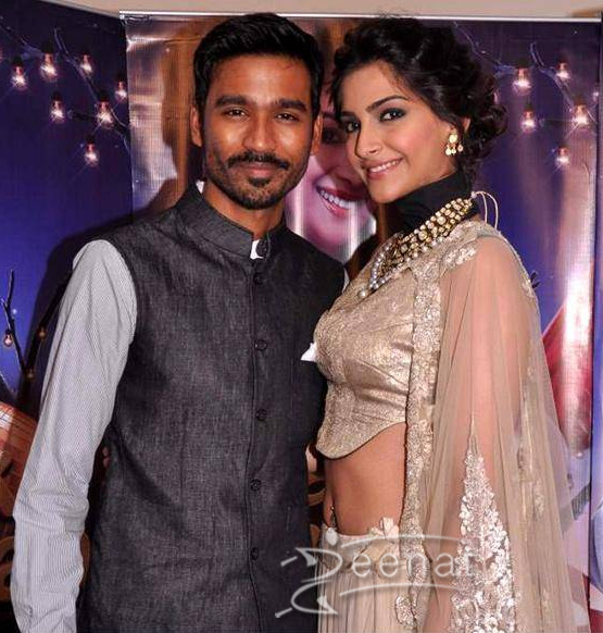 Dhanush with Raanjhanaa co star Sonam Kapoor during the movie's promotion, on the sets of Jhalak Dikhhla Jaa 6,