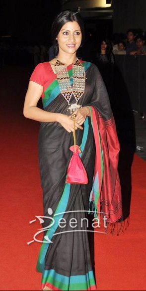 Konkona In Casual Black Saree