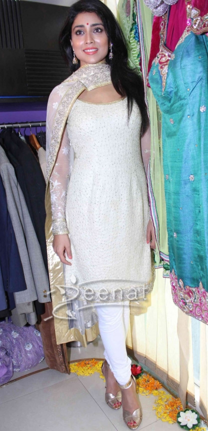 Shriya Saran in designer Churidar Salwar Kameez