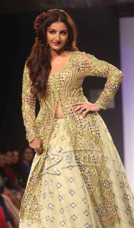 Soha Ali Khan in designer lehenga choli with long shirt