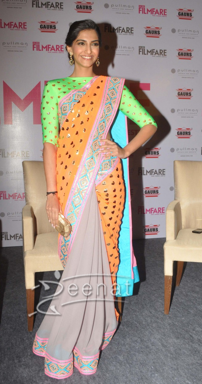 Sonam Kapoor Flags Off All New Filmfare Looks Gorgeous in Colourful Saree