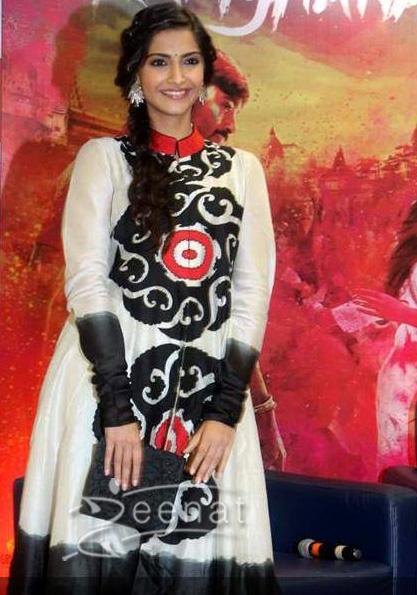 Sonam Kapoor in designer Anarkali Churidar at magazine cover launch
