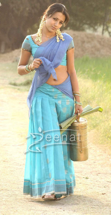 Trisha Krishnan In Lehenga Saree Zeenat Style