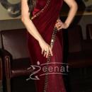 Zarine Khan In Maroon Designer Saree
