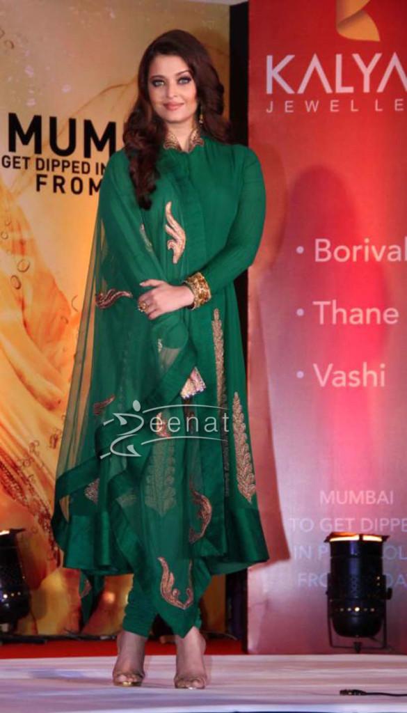 Aishwarya Rai Bachchan In Green Anarkali Churidar