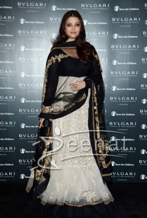 Aishwarya Rai looked regal in a black and white Sabyasachi Anarkali dress at opening of Bulgari Hotel