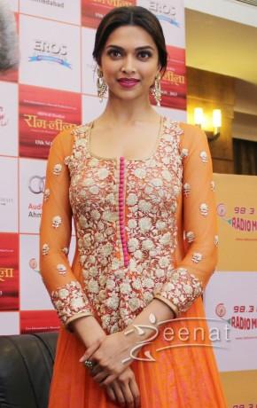 Deepika Padukone In Orange Designer Anarkali Frock ...