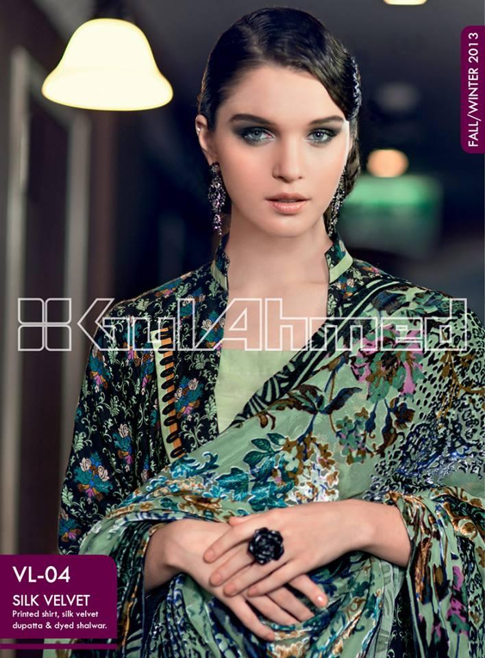 c24a2d93e7 Gul Ahmed Silk Velvet Winter Collection 2013 (9) | Zeenat Style