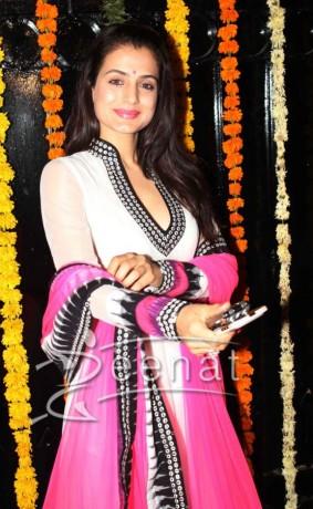 Ameesha Patel in Anarkali Nisshk at Ekta Kapoor's Diwali party