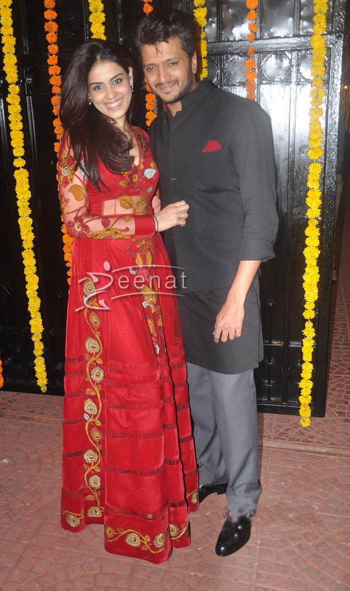 Genelia and Ritesh Deshmukh at Ekta diwali party