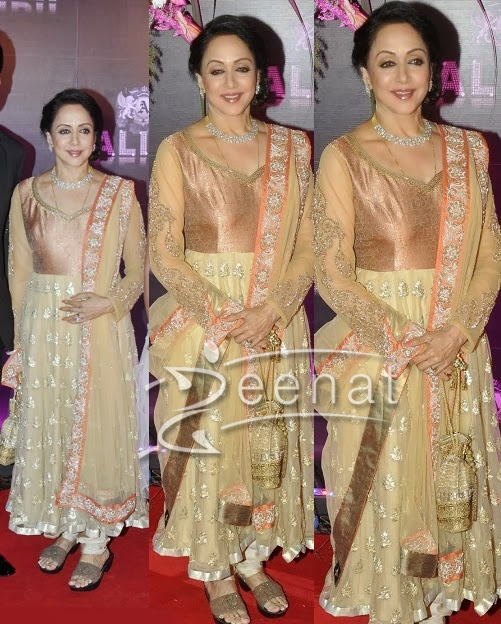 Hema Malini in cream Anarkali