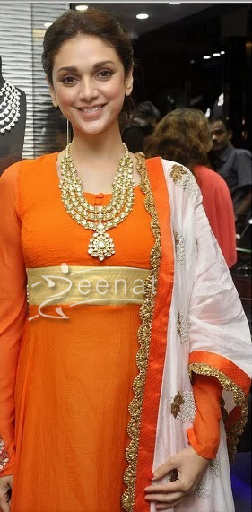 Aditi Rao In Orange Anarkali Suit