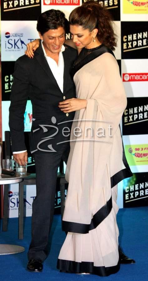 Deepika Padukone in Black and Fawn Saree