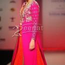 Huma Qureshi In Orange Pink Anarkali Frock