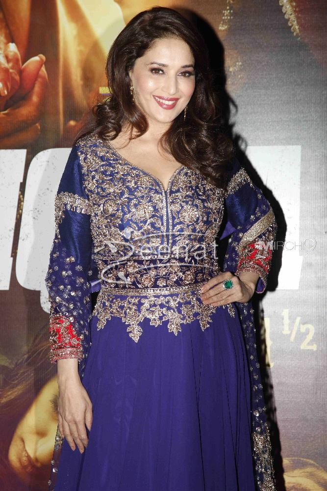 Madhuri Dixit In Blue Anarkali Suit