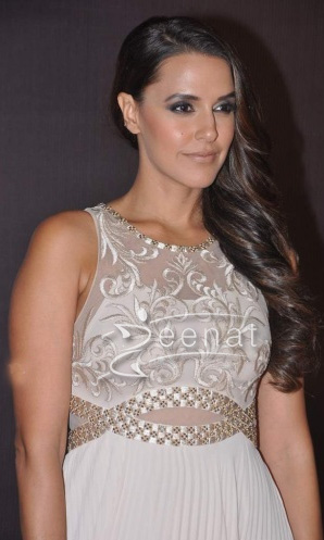 Neha Dhupia In White Anarkali Maxi