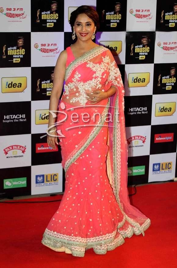 Madhuri Dixit In Pink Lehenga Saree