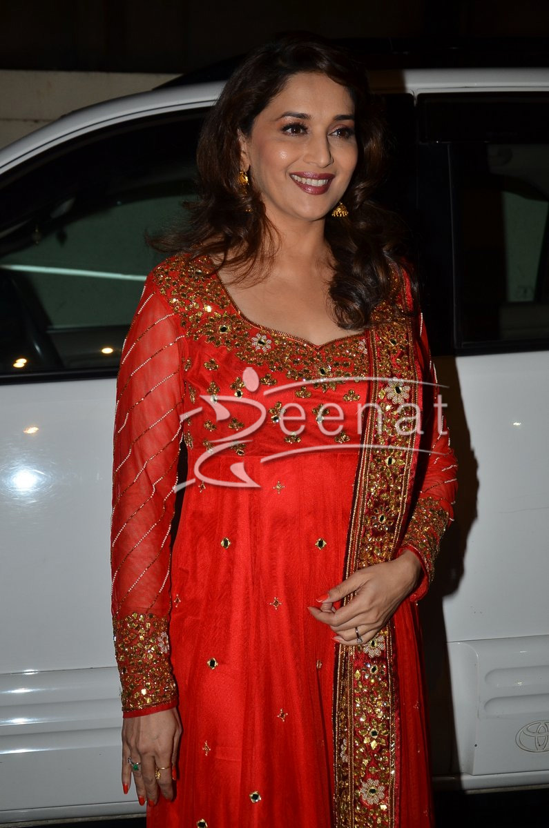 Madhuri Dixit In Red Anarkali Churidar