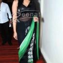 Mahi Gill In Printed Black Saree