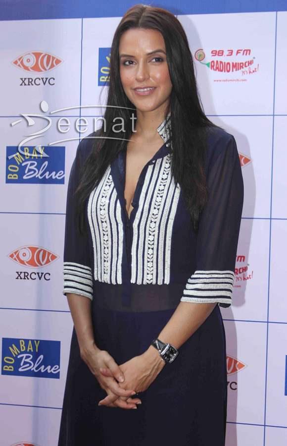 Neha Dhupia in Trendy Blue Kurti by Manish Malhotra