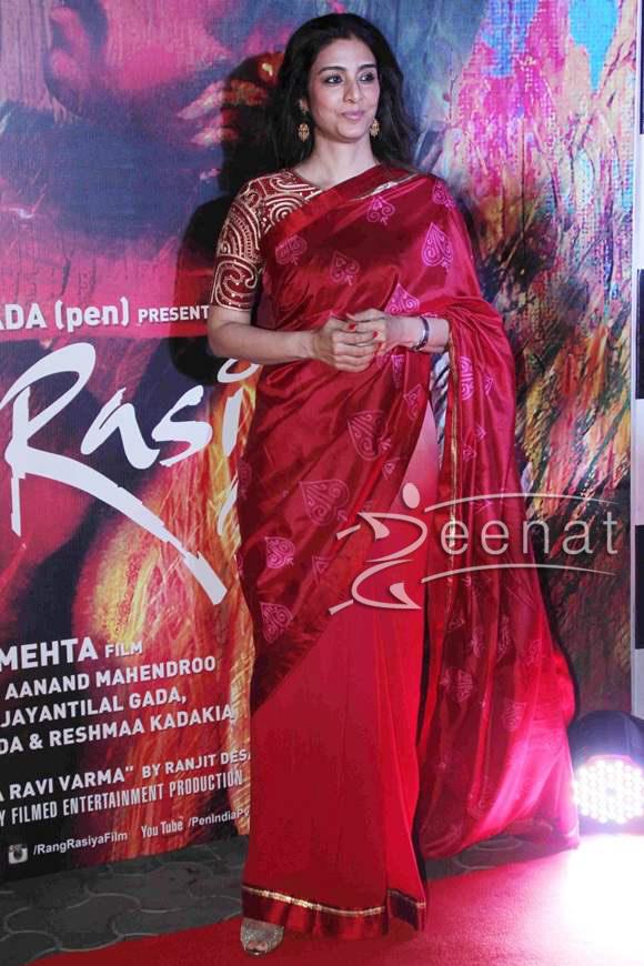 Tabu in Red Color Nachiket Barve Saree