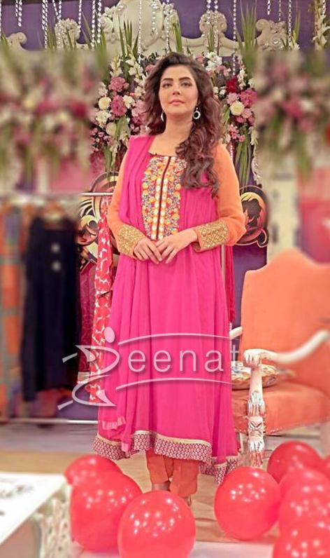 Nida Yasir In Maria B Mbroidered Fomals 2015 Zeenat Style