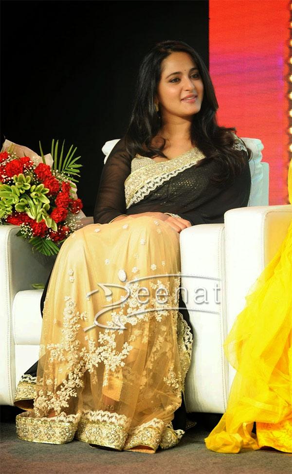 Anushka Shetty in Black Gold Sabyasachi Saree
