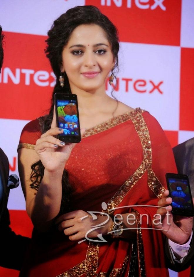 Anushka Shetty in Transparent Red Saree