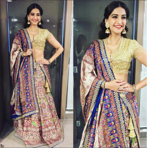 Why can't she stop being so magical? Well another outfit by same ace designer Abu Jani and Sandeep Khosla, here she picked Lehenga with somewhat similar shades like her anarkali she wore before.