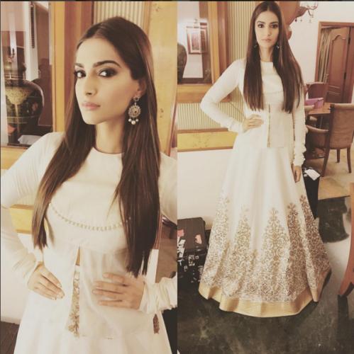Sonam Kapoor In Rohit Bal White Dress Prem Ratan Dhan Payo 2015