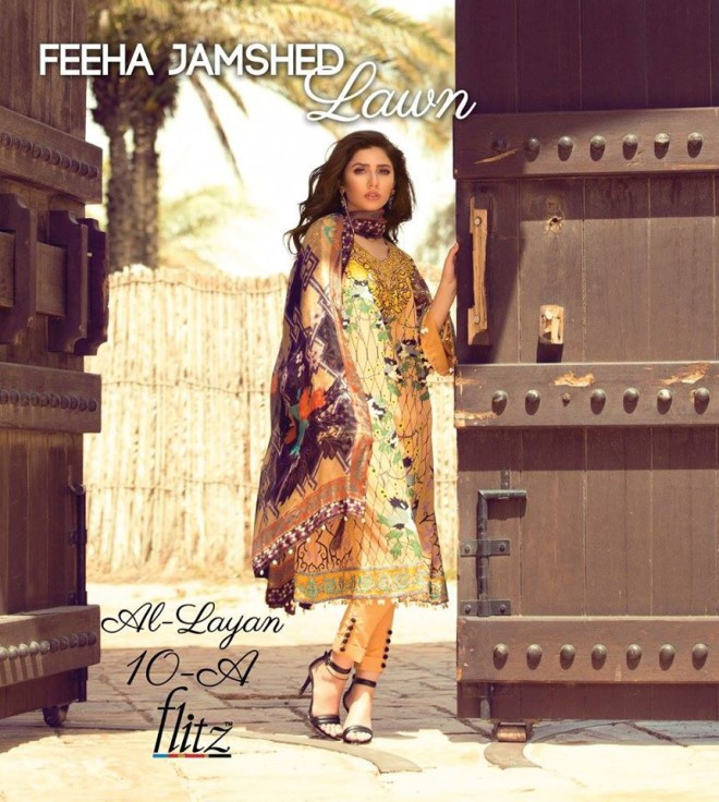 Al-Layan 10A – Feeha Jamshed Lawn Collection 2016 – Mahira Khan