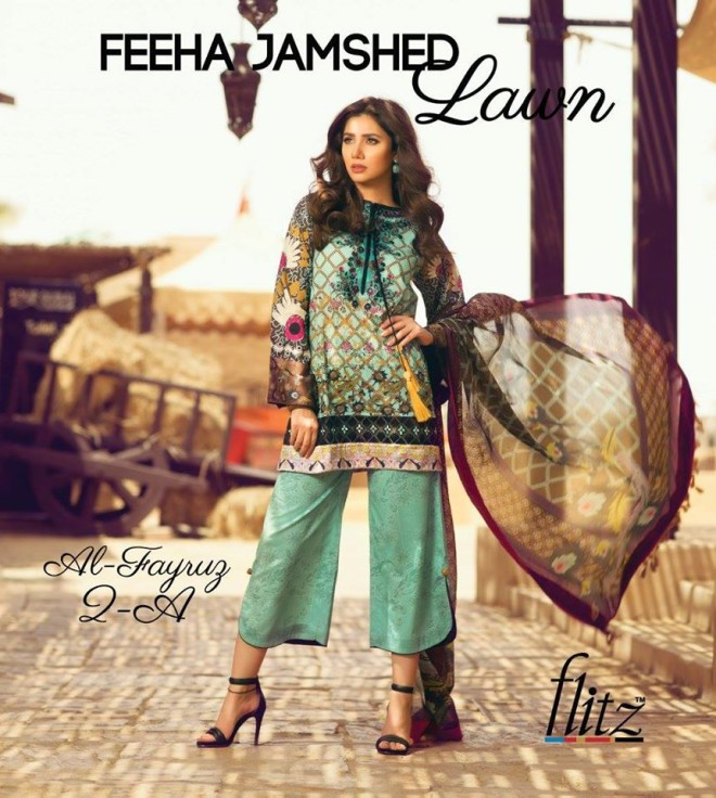 Al-Fayruz 2A – Feeha Jamshed Lawn Collection 2016 – Mahira Khan