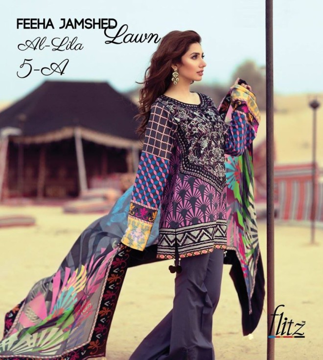 Al-Lila 5A – Feeha Jamshed Lawn Collection 2016 – Mahira Khan