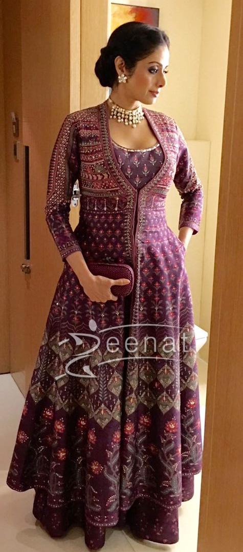 Sridevi in Anita Dongre Purple Floor Length Jacket