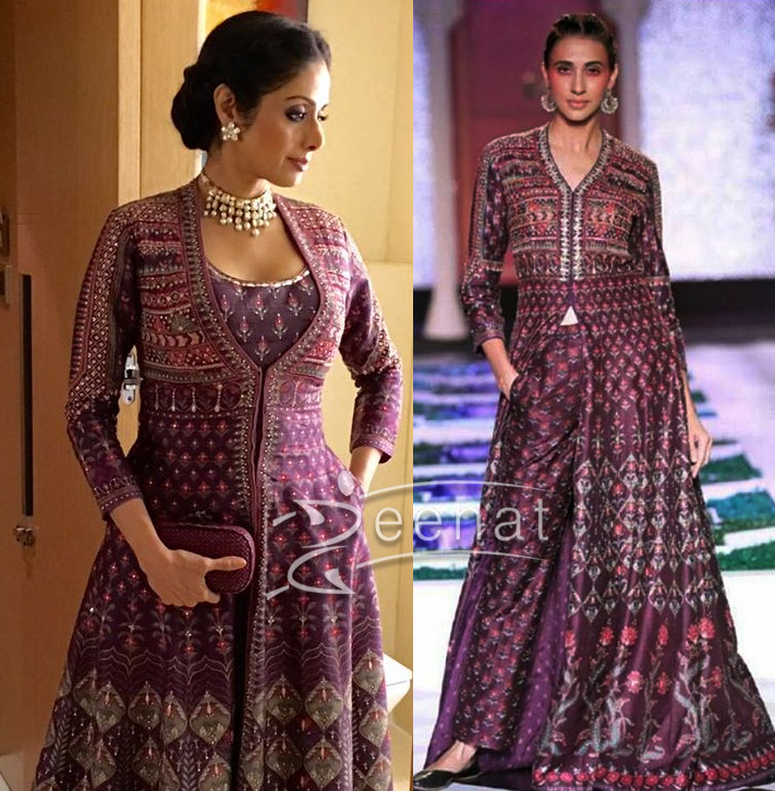 Sridevi in Anita Dongre Purple Floor Length Jacket