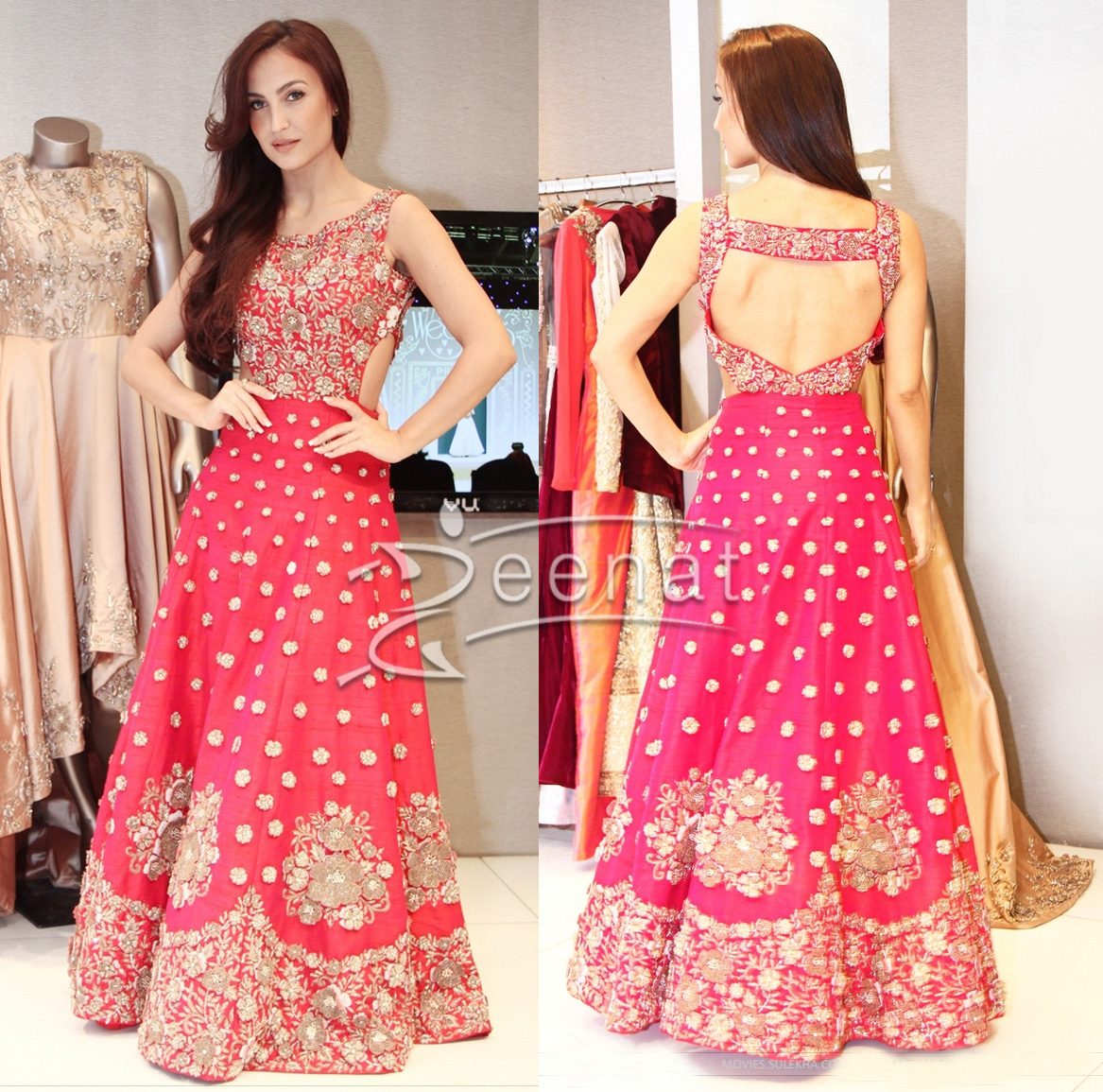 Elli Avram In Backless Lehenga Choli
