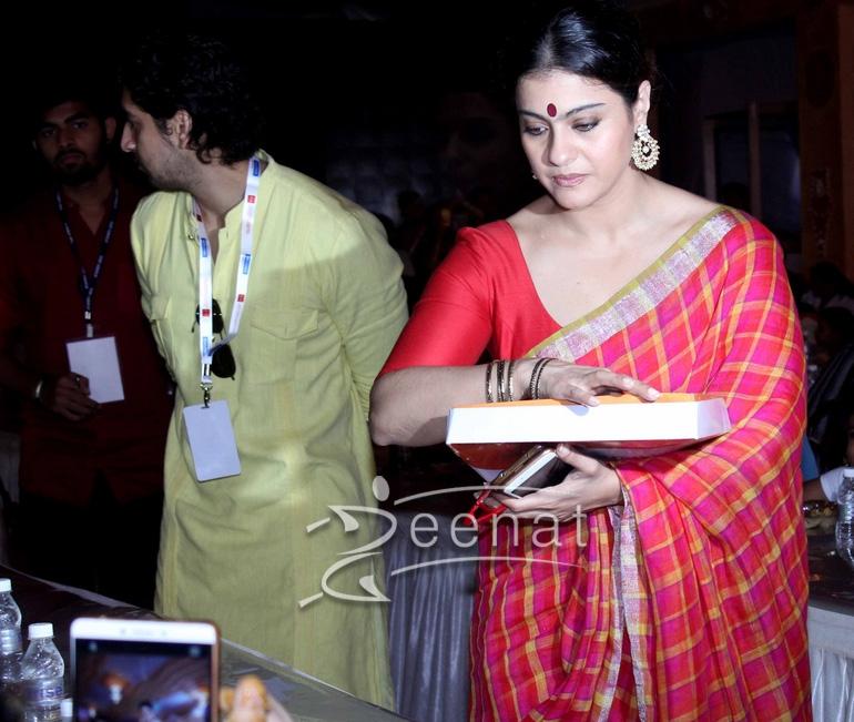Kajol In Anvila Saree For Durga Pooja
