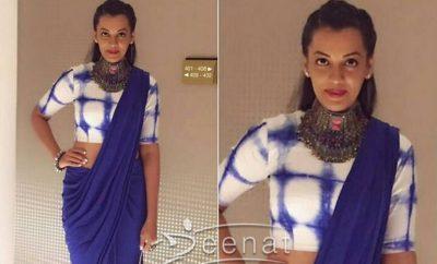 Mughda Godse In Mint Blush Saree