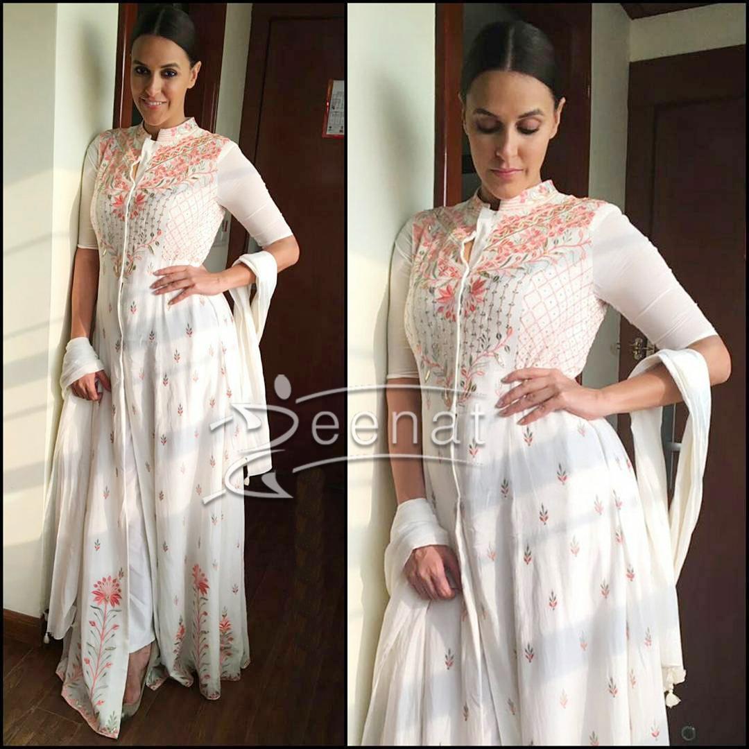 Neha Dhupia All White In Anita Dongre