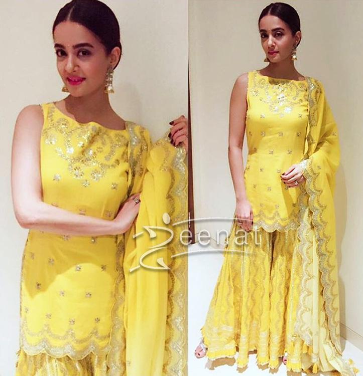 Surveen Chawla In Sukriti and Akrit Yellow Shararai